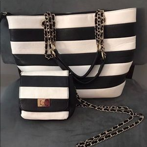d98aa8a9270 Aldo Bags - ALDO Tote Bag   crossbody black  White stripes set